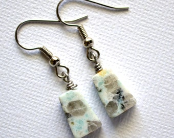 Sesame Jasper Gemstone Trapezoids . Earrings . Jasmine Collection