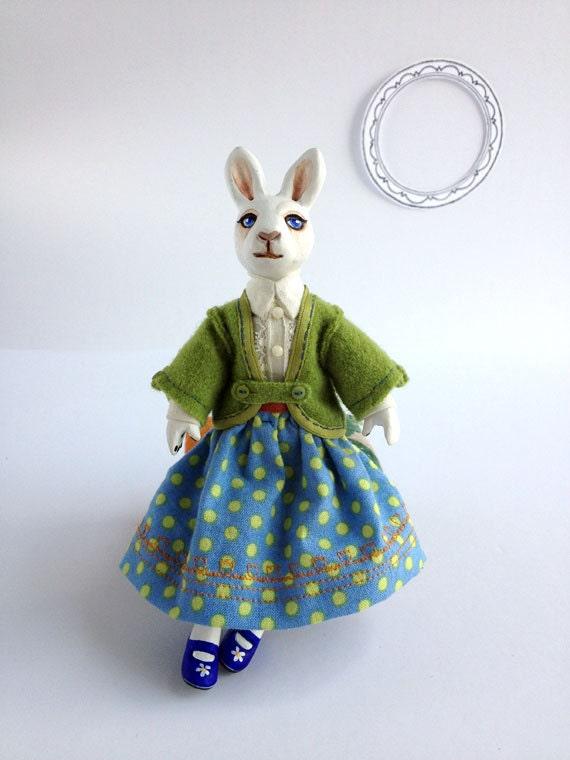 White Rabbit Girl Art Doll, Handmade Clothing, One-Of-A-Kind (OOAK), Girl Bunny in Dress, Anthropomorphic Doll