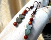 Gemstone Heart Earrings, Kambaba jasper and goldstone beaded dangle earrings, copper and blue hearts jewelry, brown and blue Valentine gift