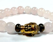 Natural Rose Quartz  and Pyrite Gemstones beaded bracelet with Gold Buddha