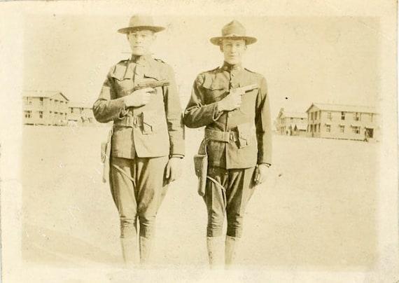 "1917 Vintage Photo ""Military Men with Guns"", Photography, Paper Ephemera, Snapshot, Old Photo, Collectibles - 0040"