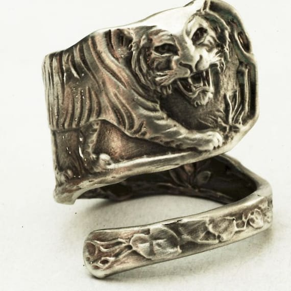 Tiger Spoon Ring Sterling Silver Vintage Jungle Tiger Pattern, Handmade & Adjustable Size (A016)