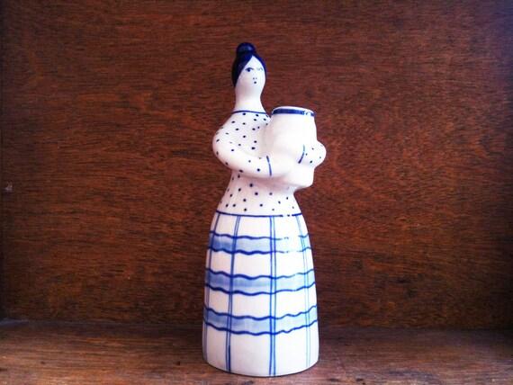 Vintage Blue and White Woman Vase / English Shop
