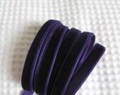 3 Yards Deep Purple Velvet Ribbon 3/8 inch - 23