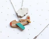 Wooden Laser Cut Aeroplane Necklace - SALE