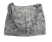 Gray cotton fabric shoulder bag / messenger bag / diaper bag / cross body bag - leaves printed