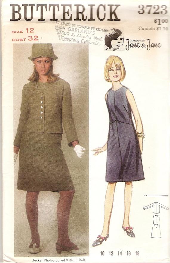 "1960s Sleeveless Dress Pattern and Jacket Jean Muir Jane & Jane Pattern Vintage Butterick 3723 Bust 32"""