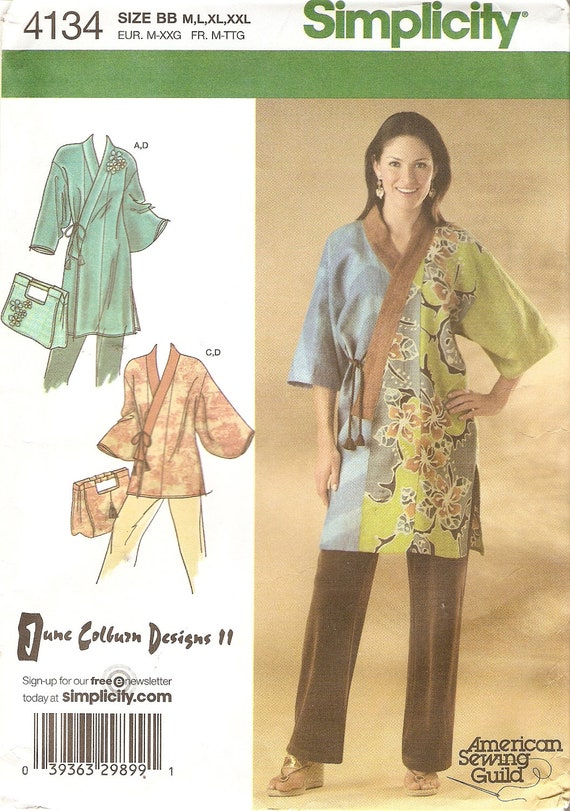 Kimono Tunic Top and Tote Simplicity 4134 Bust 48 XXL June Colburn Designs 11