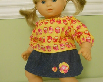 15 inch Doll Clothes fits Bitty Twin Skirt, Shirt and Headband - Owls