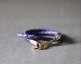 Double Wrap Braided Leather Bracelet(VIOLET)