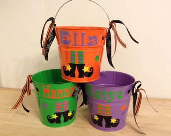Halloween bucket: Personalized halloween trick or treat metal bucket, 2 quart toddler size pail Witch's feet, shoes, boots, candy basket