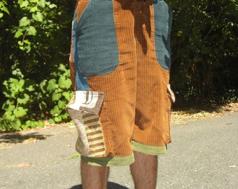Custom Patchwork Shorts- Corduroy Cargos, Brown and Green
