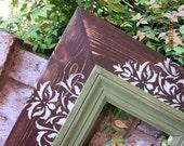 Damask Distressed Picture Frame, Mudslide / Linen / Spanish Olive