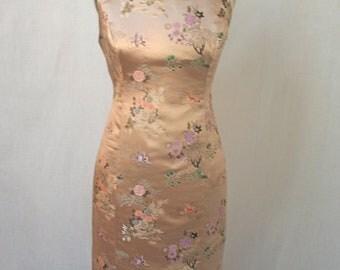 Blush Pink Retro Madmen Roll-Collar Brocade Dress-custom made to order