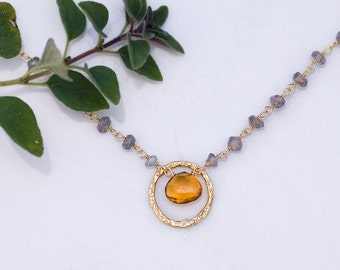 Citrine Necklace - November Birthstone Necklace - Wire wrapped Labradorite necklace - Gift For Her