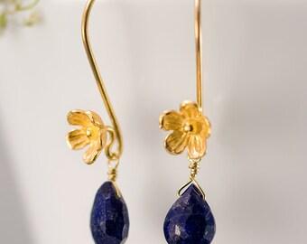 September Birthstone Earrings - Lapis Lazuli Earrings - Gold Earrings - Flower Earrings