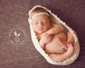 Baby Headband- Newborn Headband- Ivory and Gold Trim on White Skinny Elastic Headband