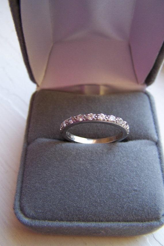 "Vintage ""NVC"" Silver Ring / Wedding Band 10 CZ Gemstones in Size 7 1/2"