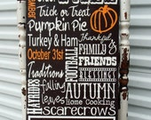 Fall decorations, Personalized Halloween Door Sign with Family Name Displayed on Wood or Canvas