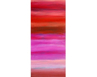 Pink Ombre Layers - large 12x36 original abstract painting
