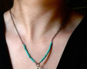Sterling and Copper Enameled Bead Necklace - Apple