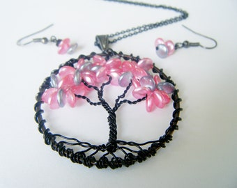 Pink Lentil Tree of Life Necklace with Matching Earrings OOAK