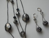 Black Glass Necklace and Earrrings - Beautiful for Summer Parties and Weddings Charcoal Beads with Black Glitter Earrings