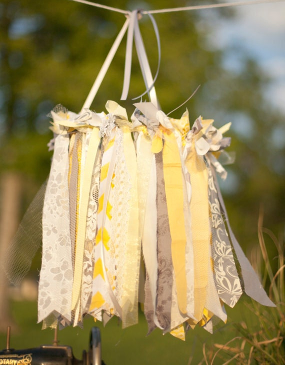 Yellow & Gray Chandelier, Baby Mobile, Photography Prop, Wedding Decor, Faux Chandielier