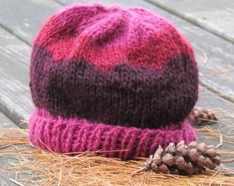 Handknit, Funky Boho, Maroon, Burgundy  & Violet, Lopi Wool Hat