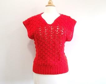 Red Crochet Sweater Vintage Short Sleeve Sweater - M/L