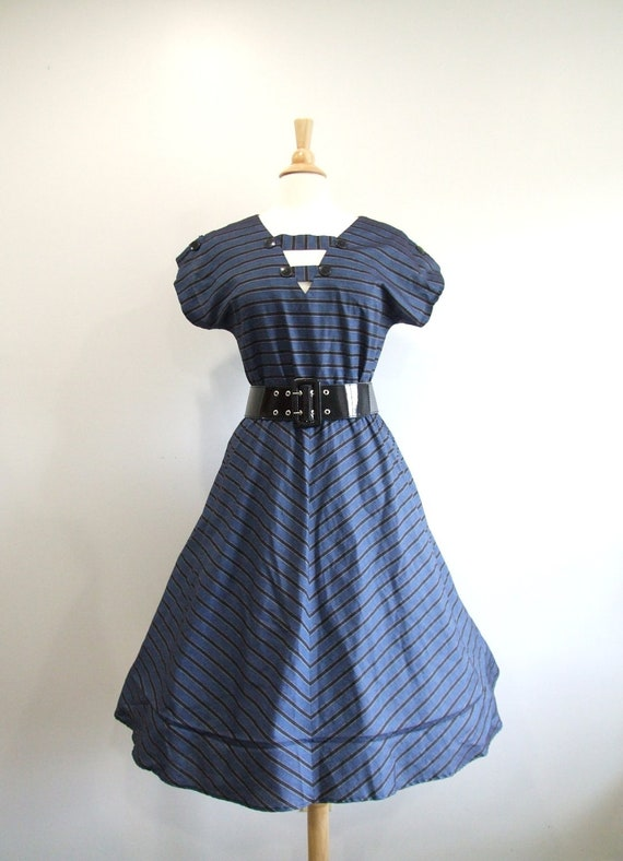 1950s Party Dress Vintage 50s Striped Full Skirt Dress - M / L