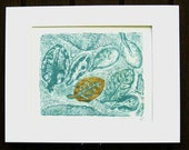 Botanical relief print, elaeagnus leaves, aqua & copper, hand-pulled original, monotype,  11 x 14 inches Sea of Leaves, Ready to ship
