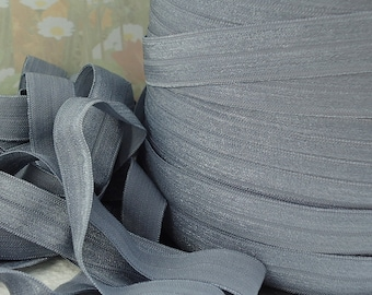 5yds Gray Elastic Ribbon Fold Over HeadBands Ponytail 5/8 inch 15mm FOE Grey Stretch Trim