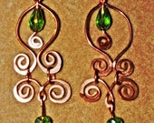 Copperwork Chandelier Earrings Accented with Green Crystal