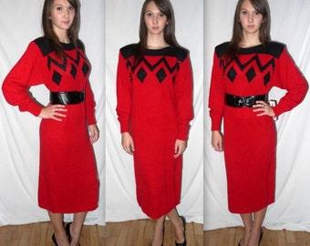 Hearts a fire .. Vintage 80s bat wing sweater dress / 1980s geometric knit / avant garde trophy / fall fashion / w/tags .. S M / bust 38