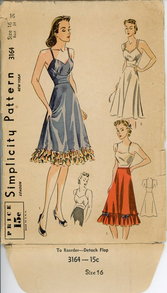 Simplicity 3164 Misses 1930s Slip Pattern Camisole Petticoat Womens Lingerie Pattern Ruffled Hem Womens Vintage Sewing Pattern Bust 34