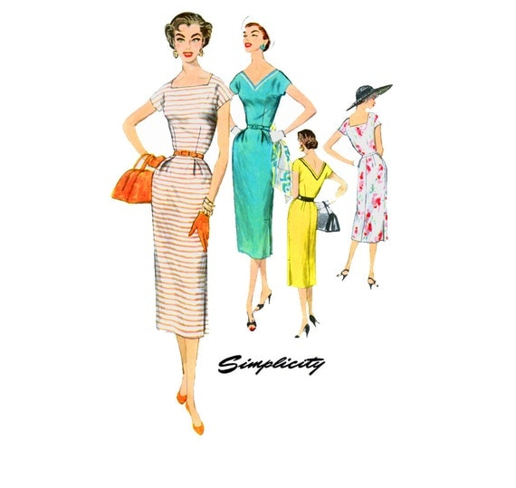 1950s Dress Pattern Simplicity 1155 Misses Summer Day or Evening Sheath Dress Square or V NeckBust 38  Womens Vintage Sewing Pattern