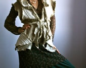 White Beige Brown Upcycled Recycled Eco-Friendly Pixie Boho Hoodie Sweater Tunic Cardigan Medium by Earthia