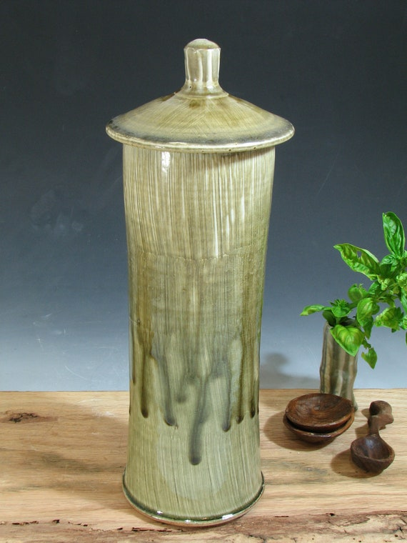Tall Lidded Stoneware Pottery Pasta Jar Canister (YCP204)