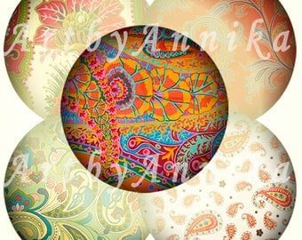 Paisley N2 - 48 30mm Circle JPG images - Digital Collage Sheet