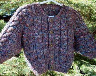 SALE: Hand Knit and Handspun Merino Wool & Silk Blend Baby Sweater Aran, Luxury Heirloom