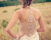 1920s Champagne Beaded 1930s Inspired Wedding dress reception dress flapper alternative backless dress