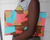 Oversized Peachy Pink/Mustard Yellow/Brown/Green Patchwork Clutch