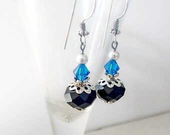 Vintage Style Earrings, Black Glass and Brilliant Blue Swarovski crystal with antiqued Silver