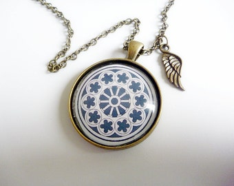 Rose Window Pendant with Angel Wing, To Remember Christchurch and what the Earthquakes took from our City