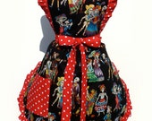 Retro Apron  1950's Vintage Inspired Day of The Dead  Skull Apron