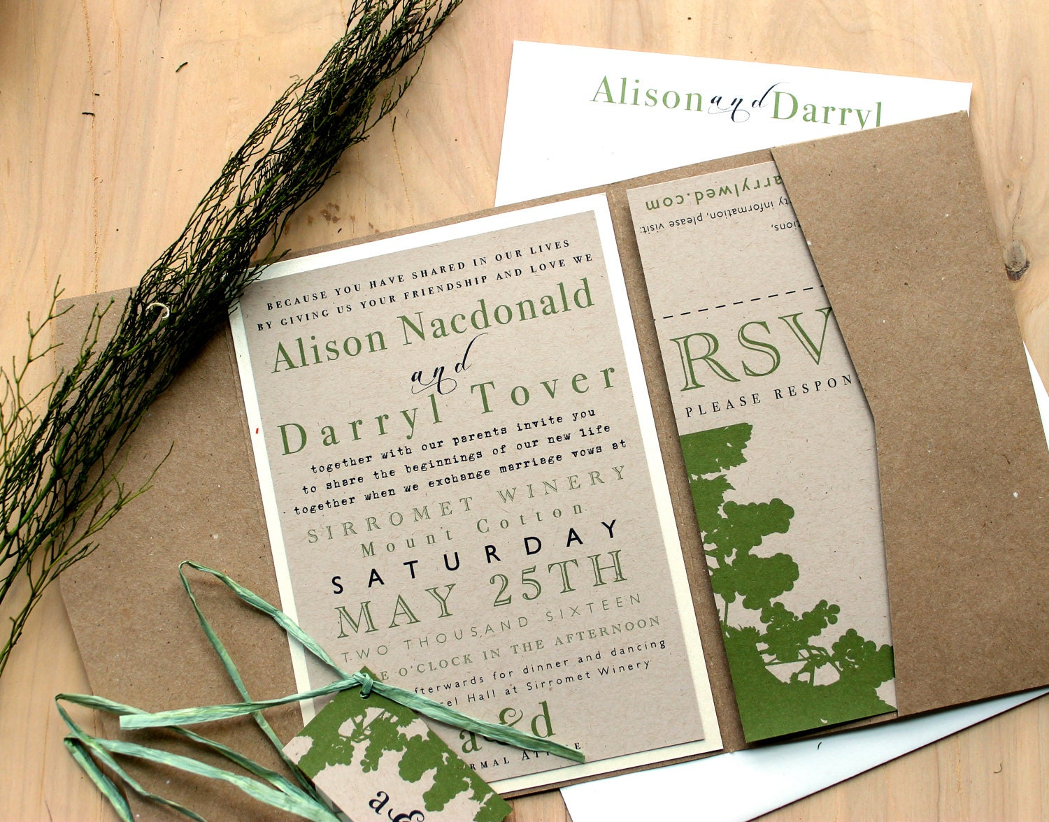 Wedding Invitations Recycled Paper: Rustic Eco Friendly Pocket Fold Wedding Invitations Winery