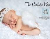 ANGEL BABY White Newborn Feather Princess Butterfly Fairy Wings & Headband Set