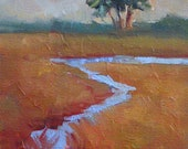 Landscape Marsh Low Country 5x7 Original Oil Painting by Kelley