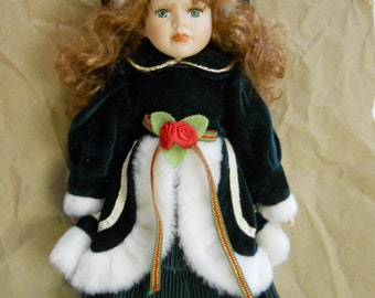 Porcelain Christmas Doll, Green Eyes, Green Holiday Dress